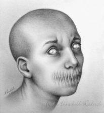 Surreal, Bleistiftzeichnung, Portrait, Alter ego