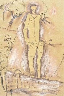 Pilze, Akt, Vogel, Malerei