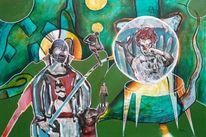 Clown, Fisch, Stuhl, Malerei
