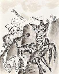 Widder, Buch, Kanone, Malerei