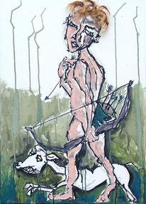 Hund, Pfeil, Bogen, Jagd