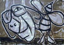 Malerei, Figural, Stachel, Freude