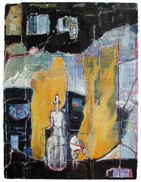 Malerei, Ziegen, Landschaft, Gestalt