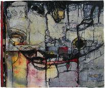 Stadt, Collage, Landschaft, Malerei