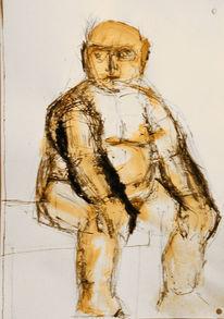 Akt, Zeichnung, Sitzen, Menschen