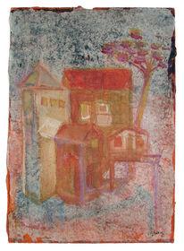 Baum, Orange, Haus, Malerei