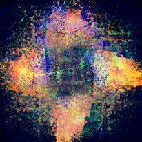 Quadrat, Farbtupfen, Kreuz, Strich