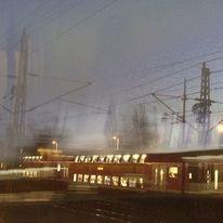 Abend, Nachtzug, Gleis, Nebel