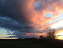 Himmel, Land und bäume, Abendwolken, Fotografie