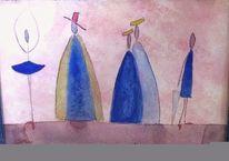 Frau mit regenschirm, Männer mit hüten, Warten, Tanz