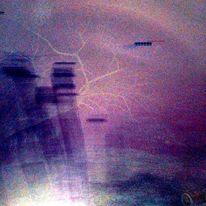 Flugobjekt, Baumblitze, Grabsteine, Digitale kunst