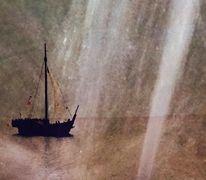 Segelschiff, Wasserstrahlen, Wasser, Digitale kunst