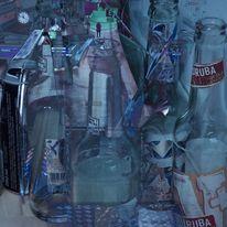 Bahnhof, Flasche, Uhr, Digitale kunst