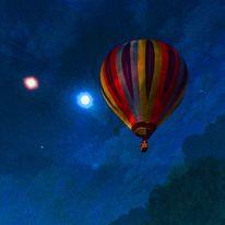 Ballon, Mond, Sommernacht, Mischtechnik
