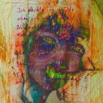 Farben, Linie, Gesicht, Worte