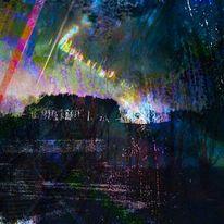 Wolken, Lichtblitze, Feld, Regenbogenfarbsprenkel