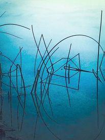 Fisch, Schilf, Wasser, Digitale kunst