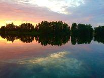 Abend, Himmel, Wolken, See