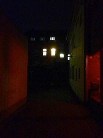 Mauer, Beleuchtung, Abend, Fenster