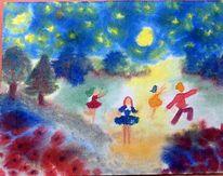 Mond, Nacht, Stern, Blumen