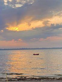 Stille, Sonnenuntergang, Ostsee, Boot
