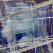 Blau weiß, Quadrat, Wolken, Digitale kunst
