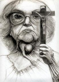 Abtreibungsgegner, Zeichnung, Bigott, Zeichnungen