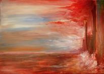 Landschaft, Malerei, Rechts, Steilküste