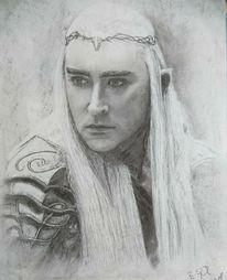 Portrait, Zeichnung, Kohlezeichnung, Fantasie