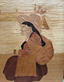 Intarsienbilder, Niño, Lama, Junge