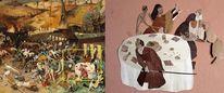 Tod, Szene, Wandbild, Intarsienbilder