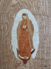 Virgen, Marketerie, Marchetaria, Holz