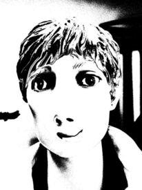 Surreal, Schwarz weiß, Digital, Frau