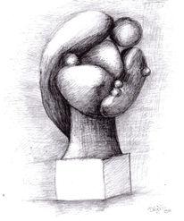 Picasso, Bleistiftzeichnung, Studie, Statue