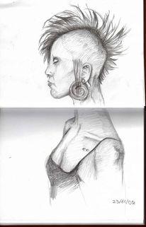 Zeichnung, Iro, Skizze, Portrait