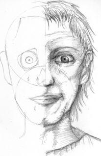 Frontal, Skizze, Studie, Gesicht