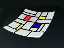 Mondrian, Fusingglas, Schale, Kunsthandwerk