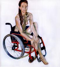 Rollstuhl, Akt, Malerei, Akt rollstuhl malerei
