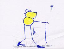 Mann, Horizont, Hut, Zeichnung