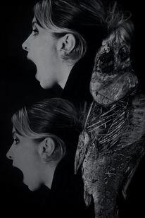 Schwarzweiß, Frau, Fotografie, Dunkel