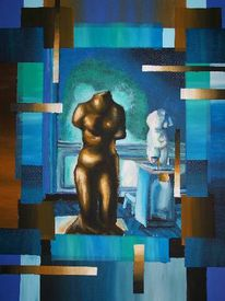 Statue, Bronze, Skulptur, Abstrakt