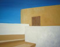 Haus, Landschaft, Himmel, Malerei