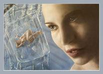 Mädchen, Fantasie, Acrylmalerei, Augen