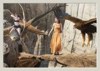 Acrylmalerei, Amazone, Fantasie, Airbrush