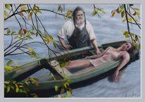 Acrylmalerei, Boot, See, Aquarellmalerei