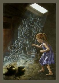 Mädchen, Acrylmalerei, Licht, Fantasie