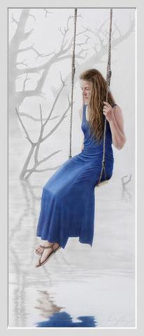 Mädchen, Kleid, Sumpf, Acrylmalerei