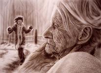 Menschen, Falten, Airbrush, Acrylmalerei