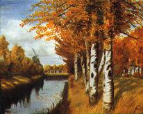 Laub, Kanal, Ölmalerei, Windmühle