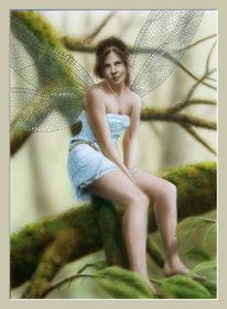 Traum, Fantasie, Airbrush, Mädchen